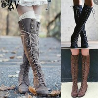 Sexy Cross tied Over Knee High Boots Women Flats boots Woman Square Heel Rubber Flock Boots Winter Thigh High Boots