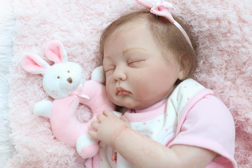 22 real Sleep Girl Reborn Doll Soft Touch silicone Vinyl Cute Baby dolls Toys Birthday Christmas