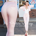 Le Palais Vintage 2015 New Autumn PIN UP Limited Edition Sweet Pink Plaid Pencil Pants Women High Waist Spandex Casual Pants