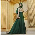 Moda muçulmano vestido manga comprida ouro bordados A linha Chiffon andar de comprimento do vestido para festa