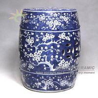 Античный китайский ручная роспись сливовый цвет синий и белый Керамика сад Мебель стул