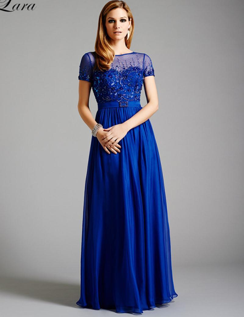 Royal Blue Short Sleeve Formal Dresses