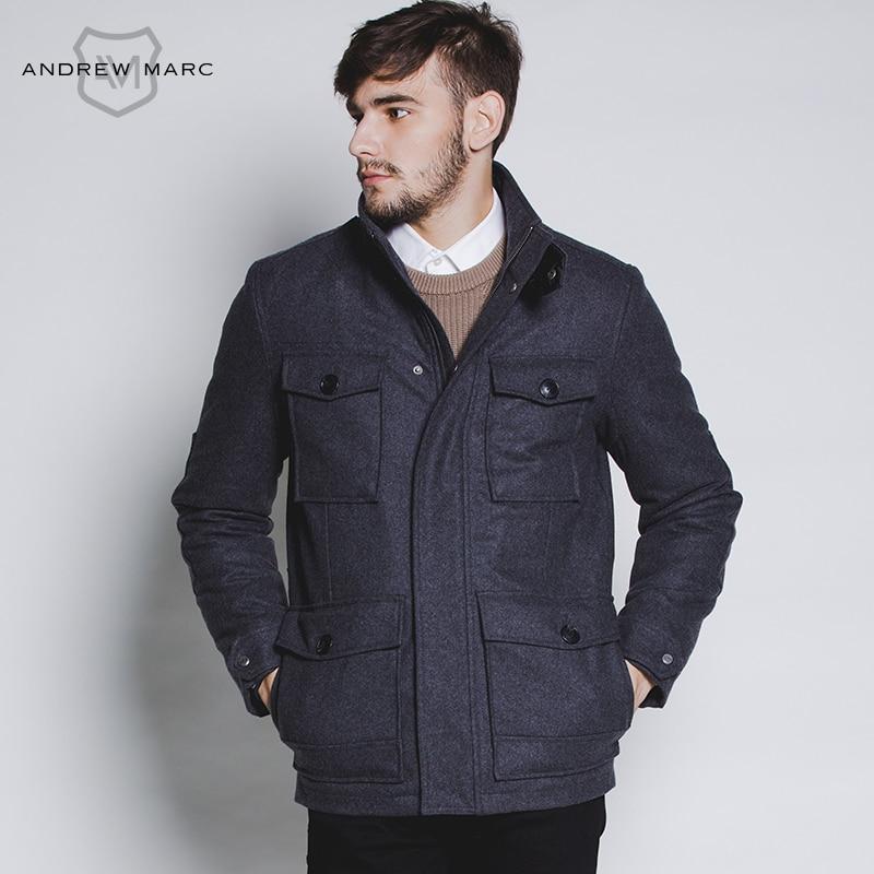 ANDREW MARC 2016 Men s Winter Fashion Wool Blends Coat Mandarin Collar Warm Jacket Overcoat Black