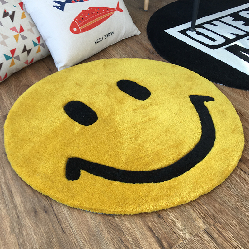 Smiling face animation bedroom carpet living room coffee table sofa bed study custom handmade carpets Home Decoration