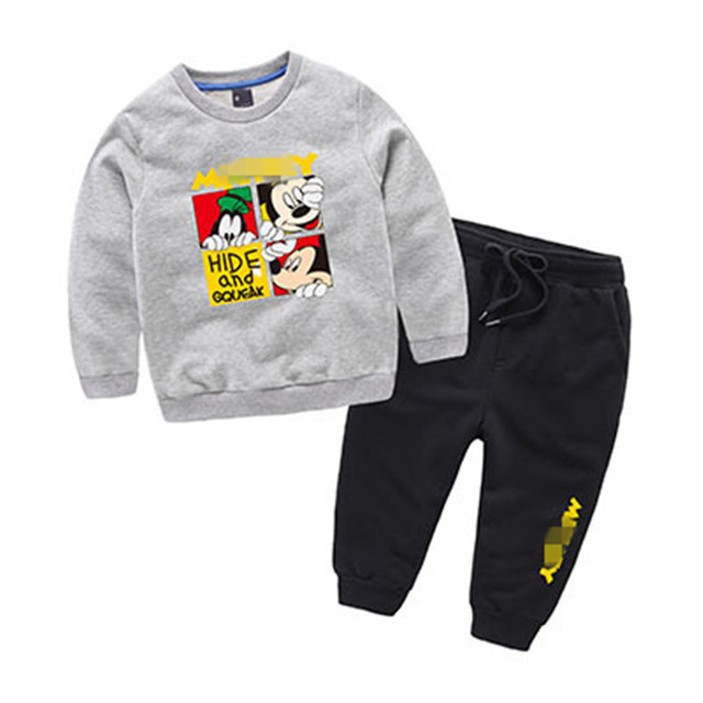 cartoon print 2017 casual boys girls clothing set sweatshirt + pants 2pcs sport suit spring cotton children kids clothes costume