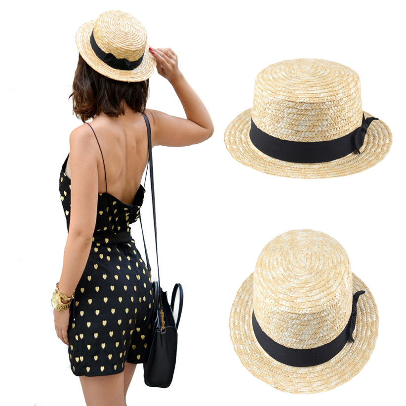 20b7bf5a38c94 US $4.83 15% OFF|Women Lady Boater Summer Sun hat Beach Ribbon Round Flat  Top Beige Straw Fedora Panama Hat Good Package 20-in Sun Hats from Apparel  ...