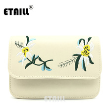 ETAILL Vintage Ethnic Embroidered Bag Chinese style Embroidery Cross-body Bag Small Lady PU Leather Flap Cover Square Bag Bolsas