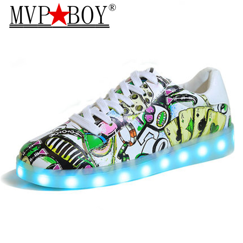 2017 Brillante Scarpe Da Uomo Scarpe Sportive Luminosi Led Illuminato Con Per Adulti Light Up Shoes Led Unisex Glowing Usb Di Ricarica Scarpe Curare La Tosse E Facilitare L'Espettorazione E Alleviare La Raucedine