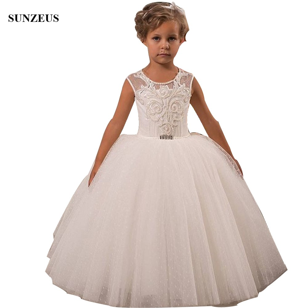 Ball Gown Puffy   Flower     Girl     Dress   Custom-made Pearls Appliques Luxury Children Party   Dresses   For Wedding FLG097