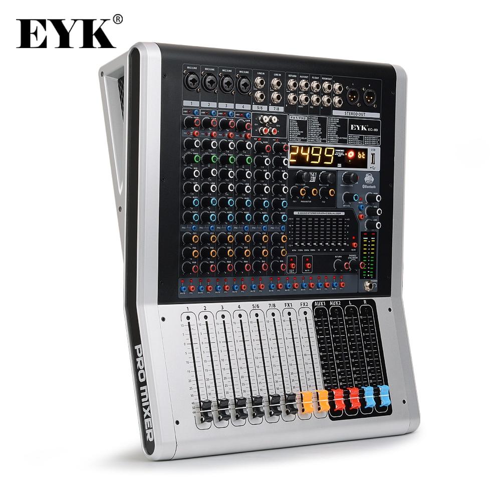 EYK EC80 8-Kanal (4 Mono,2 Stereo) audio Mixer mit 9 Band EQ 99DSP Dual Effekte USB Bluetooth 2 AUX 2 Aufnahme RCA Eingänge