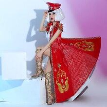 novelty female singer costume red rivet lace long jacket coat cloak fashion windbreaker lead dance prom nightclub bar stage wear