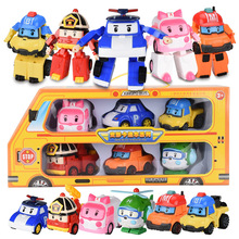 6pcs Robocar Poli Korea Robot Kids Toys Anime Action Figure For Children Playmobil Juguetes
