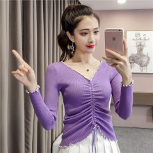 цены Girl's V-neck midriff-baring knit sweater spring autumn season popular womens