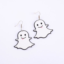 2019 new fashion acrylic white cute hallowmas The little ghost drop earrings for men women best gift Halloween jewelry