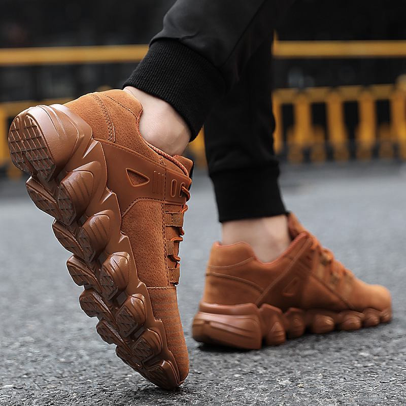 Hot Fashion High Top Sneakers Mens Leather Casual Shoes Men Spring Autumn Ankle Boots Lace Up Loafers Leather Man Shoes For Men in Men 39 s Casual Shoes from Shoes