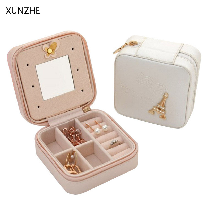 XUNZHE High Quality PU Leather Many-Grid Jewelry Storage Box Portable Travel Zipper Ornaments Bag Earring Necklace Organizers