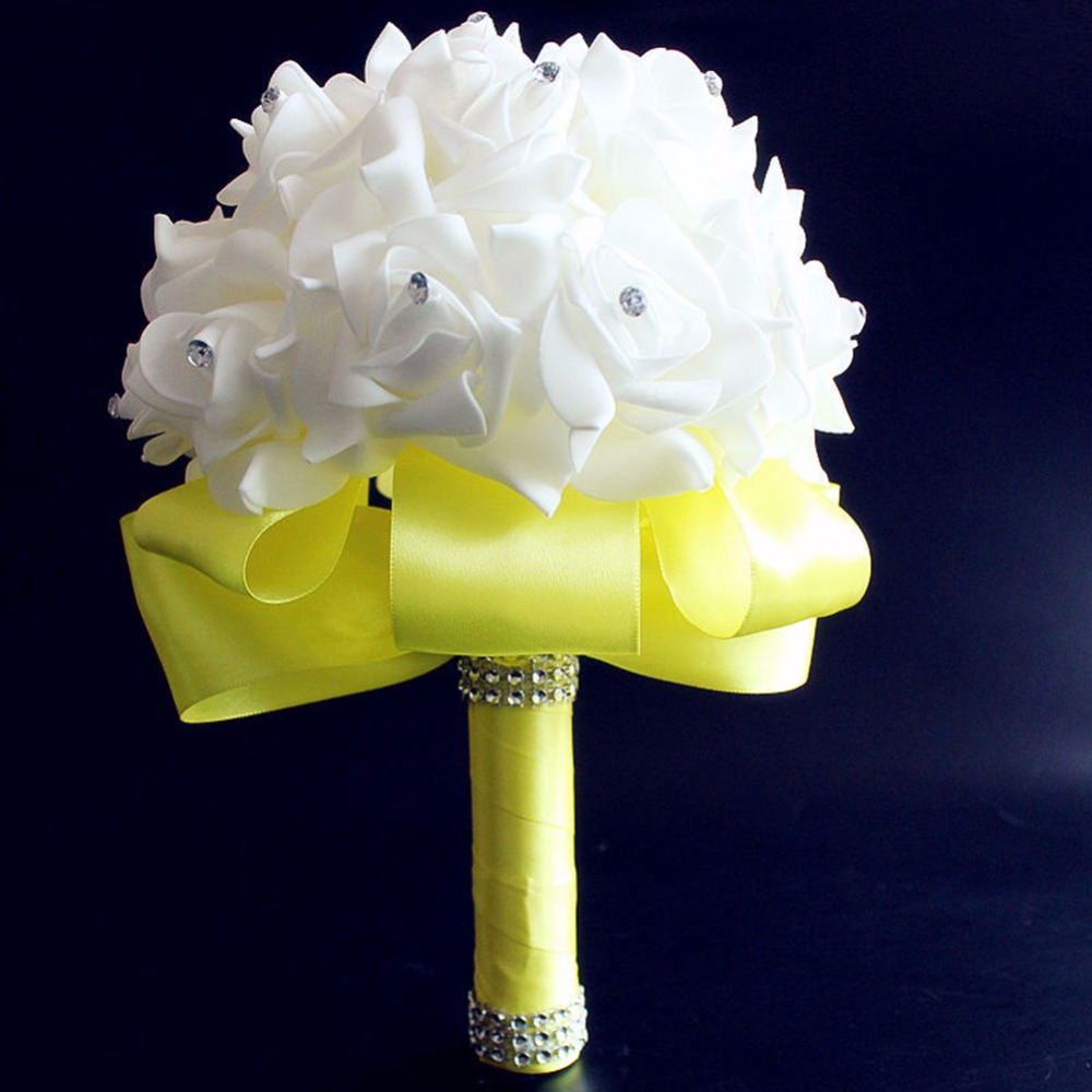 Wedding Flower Bouquet White Rose Crystal Bouquet Bride Bridesmaid