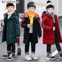 30 degree 2019 children clothing Parka kids clothes outerwear casual hooded winter cotton jacket for boys solid warm coat 3 14T