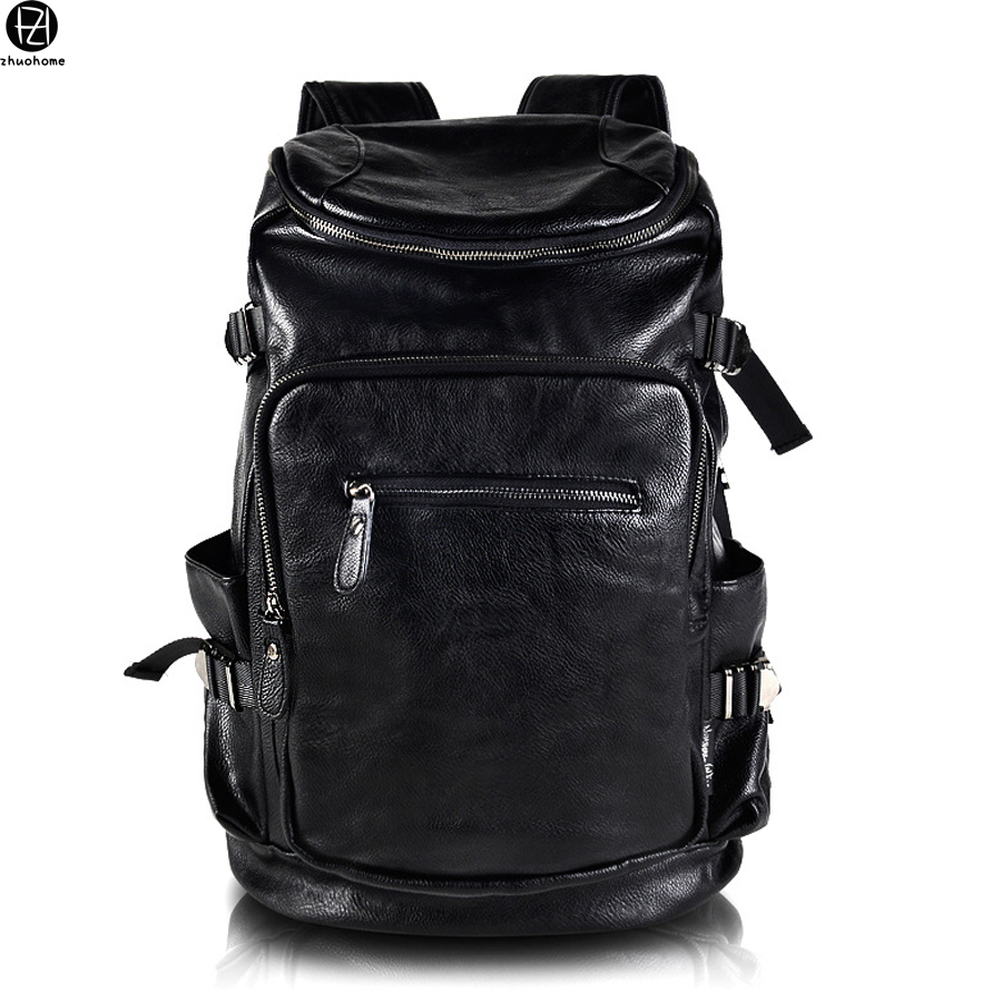 ФОТО hot sale vintage leather man bags backpacks mochila escolar school bag solid double shoulder bag travel luggage bag for male