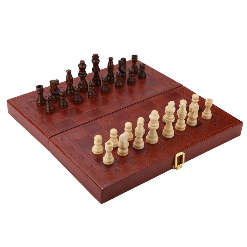 3 in 1 Portable Wooden Chess Checkers and Backgammon Board Game 8
