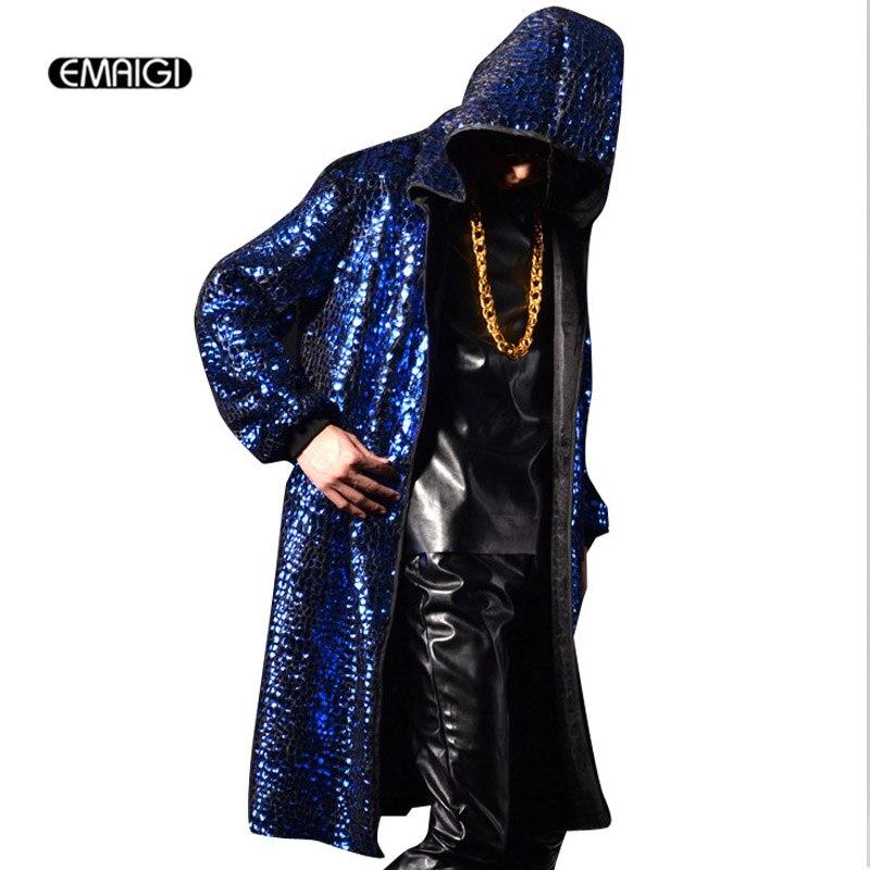 Hombres con capucha gabardina calle moda cárdigan sobretodo hombres hiphop rock largo capa chaqueta club nocturno escenario punk disfraces K590-in Zanja from Ropa de hombre    1