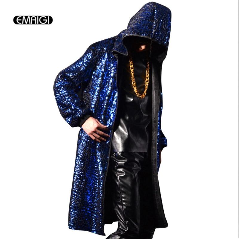Hommes à capuche trench manteau rue mode cardigan pardessus hommes hiphop rock long manteau veste discothèque scène punk costumes K590
