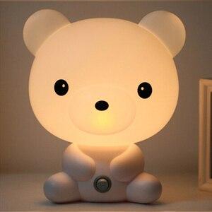 Image 3 - Panda/Dog/Bear Cartoon Night Light Kids Bed Lamp Night Sleeping Lamp For Children Room Light EU/US Plug