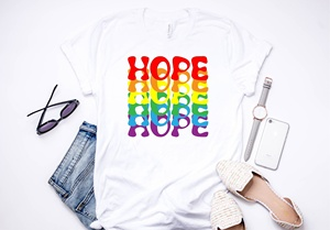 hahayule1pcs Rainbow Tshirt Hope World BTS Bpop TSHIRT *Hope T-shirt*Culture and Pop Shop Prints on High Quality Unisex T-shirts(China)