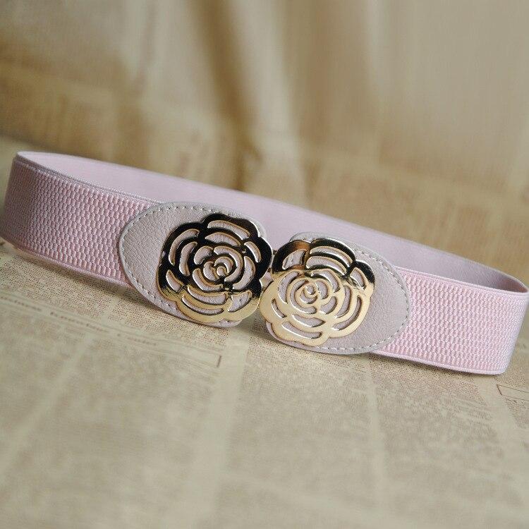 Women Fashion Vintage Elastic Girdle Women's Girdle Wide Belts Flower Black Pink Red Wide Belt For Dress Decoration 3010