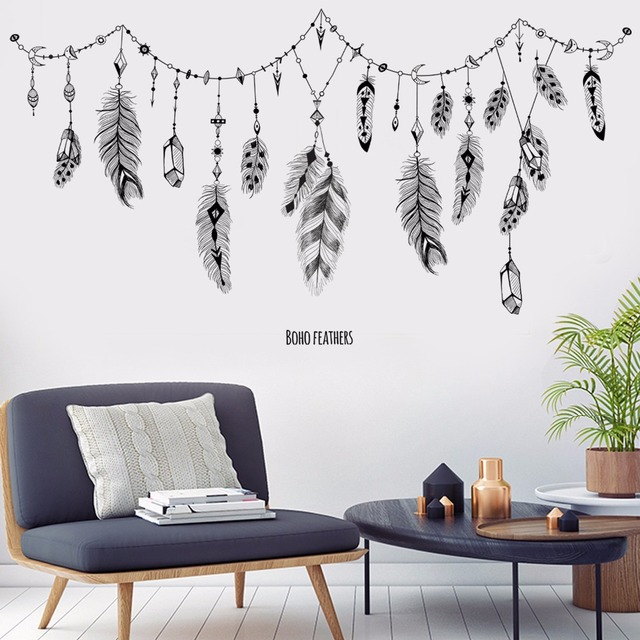 Boho Feather Wall Stickers 4