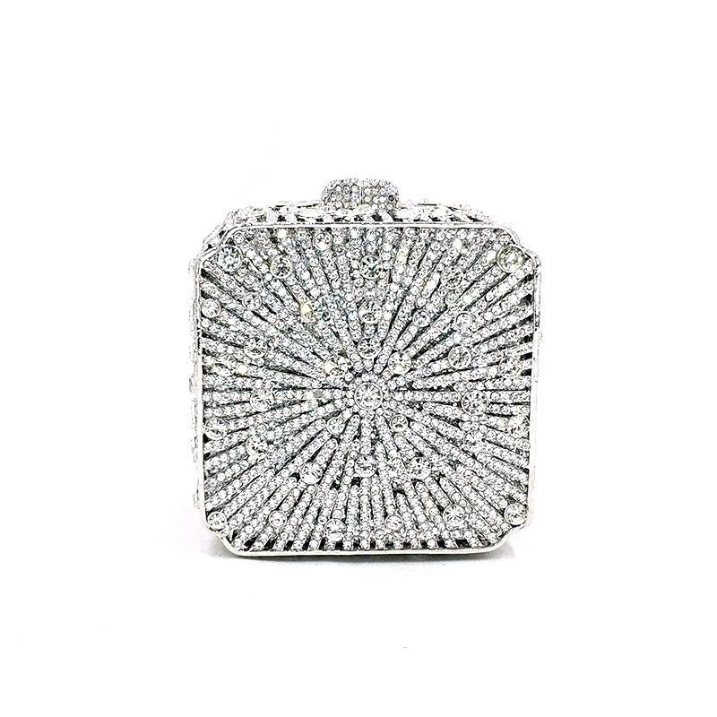 Luxury women evening party bag bridal wedding diamonds bag accessories elegant clutches bag plant leaves crystal