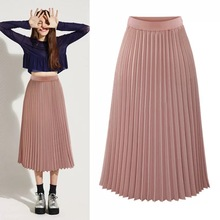 New 2019 Autumn High Waist Skinny Women Pleated Midi Skirt Elascity Casual Female Party Clothing DB127