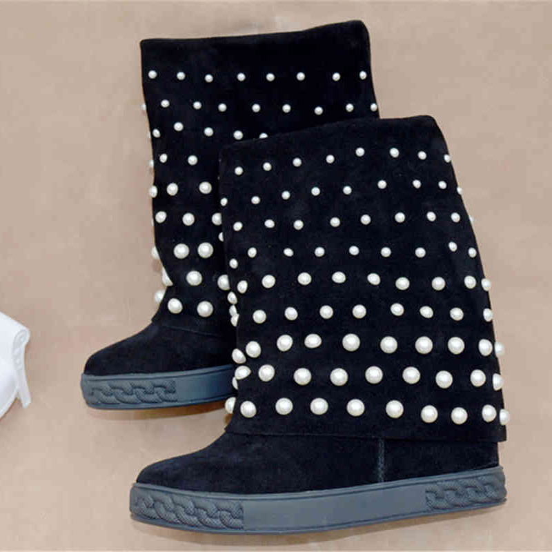 White Pearl Decor Women Mid-calf Boots Round Toe Wedges Height Increasing Women Winter Warm Hot Shoes Platform Chaussures Femmes women warm winter shoes wedges round toe platform lace up mid calf boots fashion square heel botas mujer