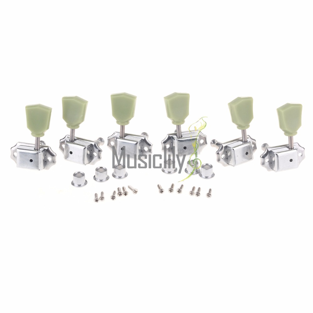 Musiclily 3R3L Deluxe Guitar Tuning Keys Pegs Machine Head Tuners Set for LP Style Electric Guitar Parts Chrome kaish wilkinson 3x3 deluxe vintage tuners tuning keys machine head for lp chrome