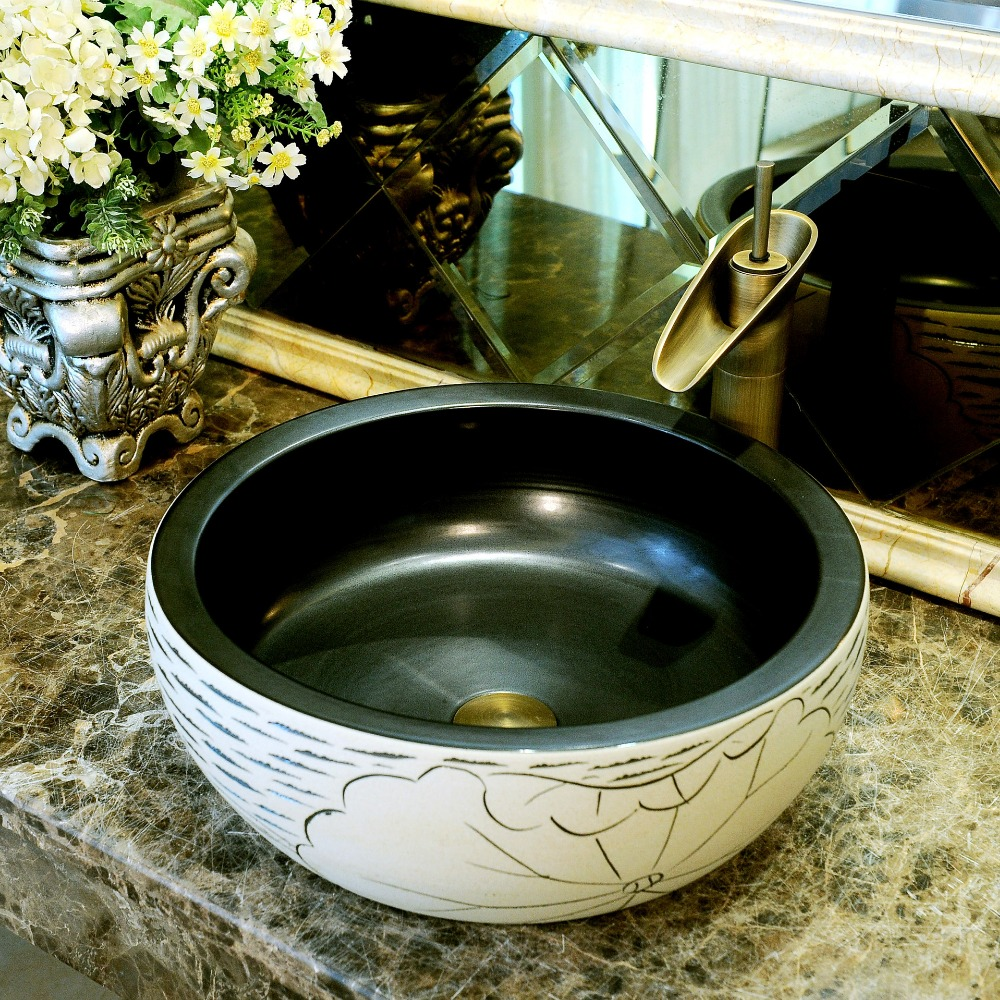 China Artistic Handmade Engraving Ceramic Lavobo Round Countertop round wash basin ceramic (1)