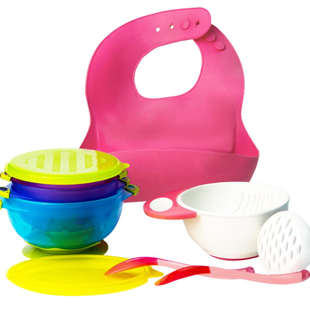 8 Pc SUCTION BABY BOWLS FOR TODDLERS Baby Feeding Set FREE Utensils BPA FREE