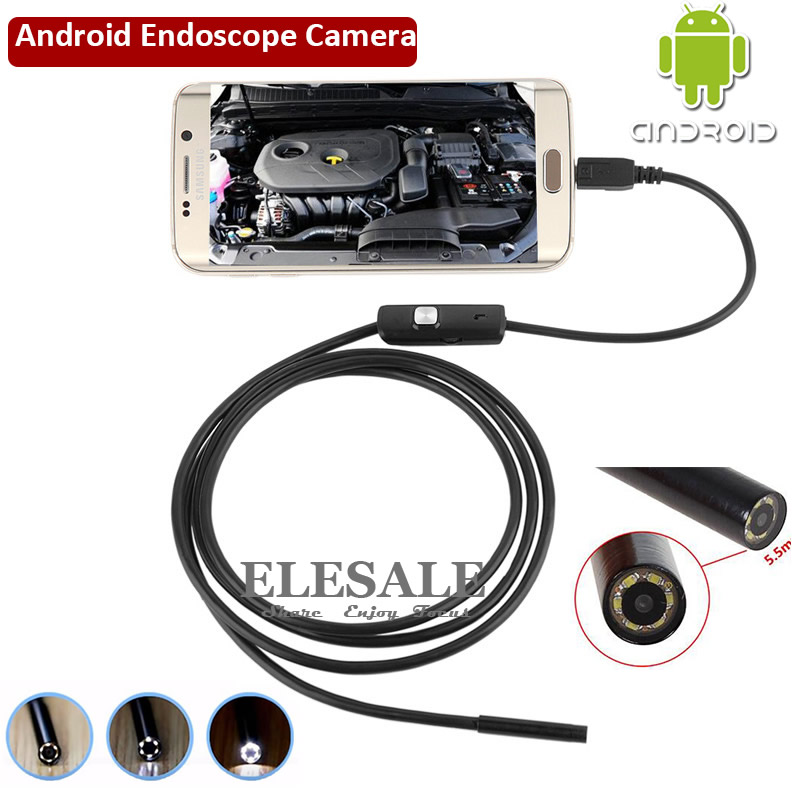 New Mini Waterproof Endoscope Camera 1M 5 5mm 6LED OTG USB Support Android Phone Windows PC