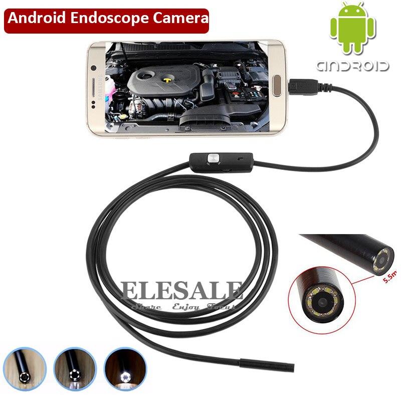 5,5mm 1 m de Cable impermeable de la cámara del endoscopio 6LED USB OTG Android endoscopio inspección de la pesca submarina para Windows PC