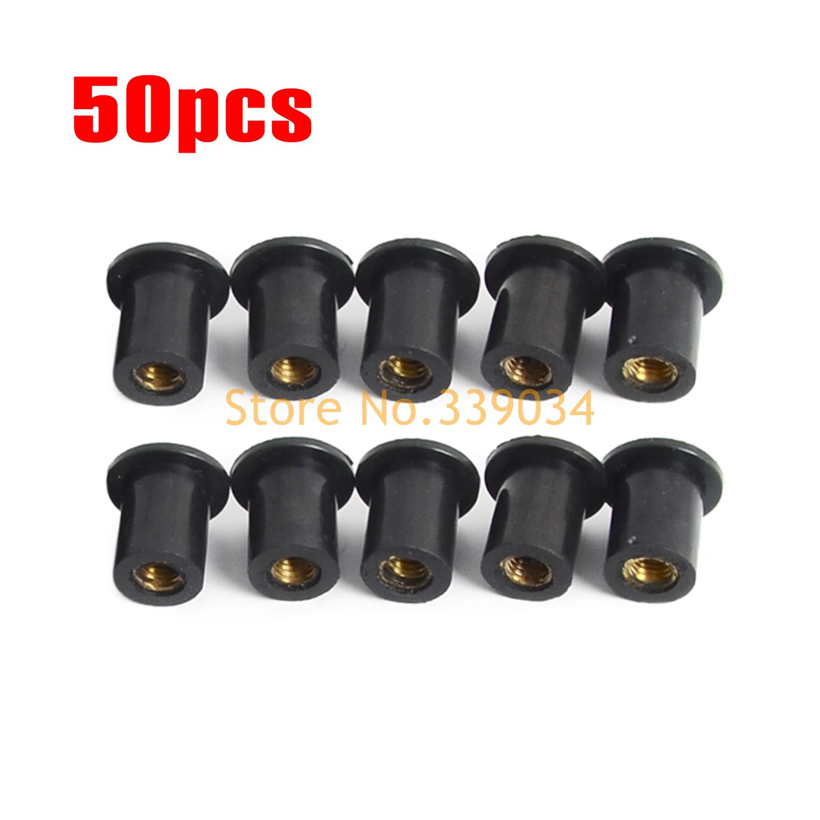 M5 50 Pieces Rubber Grommet Rubber Well Nut Metric Windscreen Nuts For Honda CBR 600  CBR 900  CBR 95 CBR 929 CBR1000 50 pieces metric m4 zinc plated steel countersunk washers 4 x 2 x13 8mm