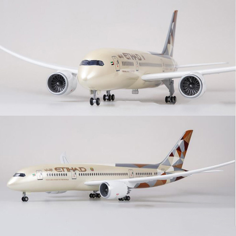 47CM 1/130 Scale Airplane Boeing B787 Dreamliner Aircraft ETIHAD Airlines Model W Light And Wheels Diecast Plastic Resin Plane