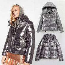 2017 New Hot Metal colour Women winter jackets Short warm coat Silver Sale reflect light bread style ladies parka thicken dames