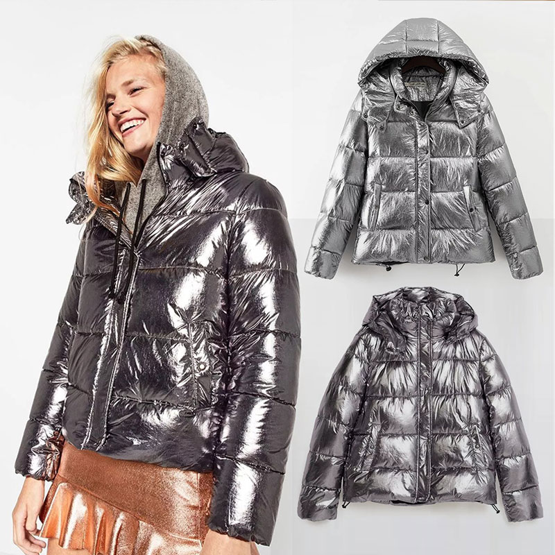 2018 New Hot Metal colour Women winter jackets Short warm coat Silver Sale reflect light bread style ladies   parka   thicken dames