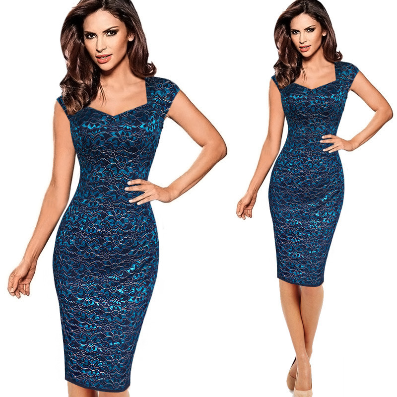 2018 Brand Womens Sexy Elegant Summer Floral Flower Lace Cap Sleeve Slim Casual Party Fitted Sheath Bodycon Dress vestidos 4XL