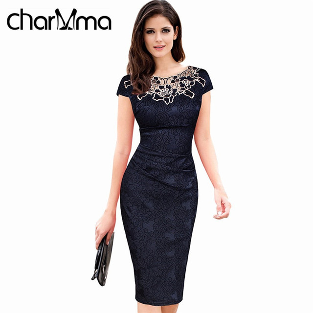 charMma Women Vintage Office Ladies Bodycon Dress Elegant Floral Hollow out Embroidery Ruched Lace Evening Pencil  Party Vestido