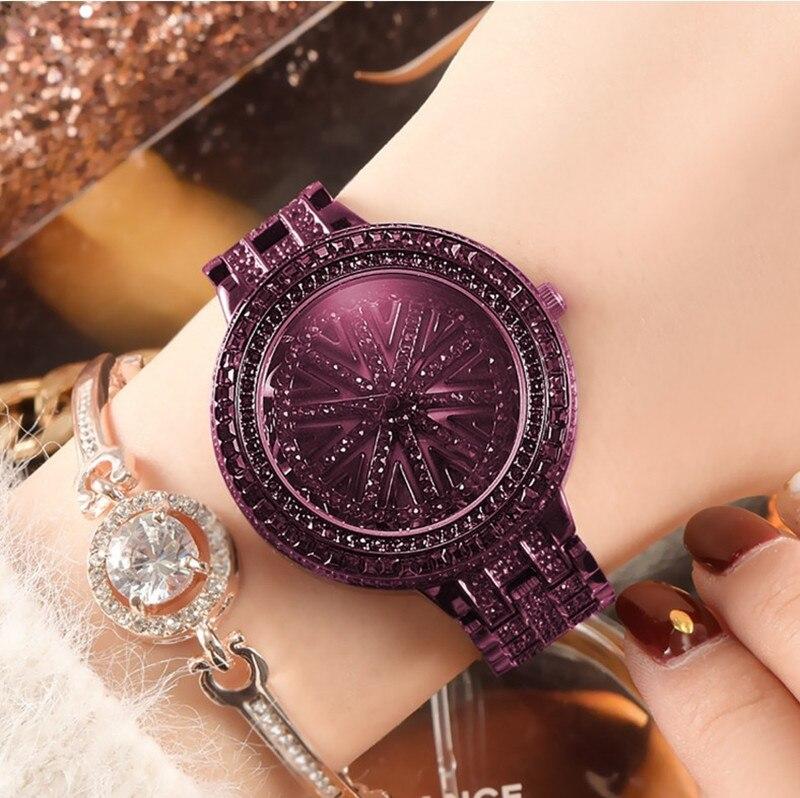 本物の女神女性は、時間に実行グリーンちりばめ腕時計スチールベルト防水回転石英潮腕時計  グループ上の 腕時計 からの レディース腕時計 の中 2