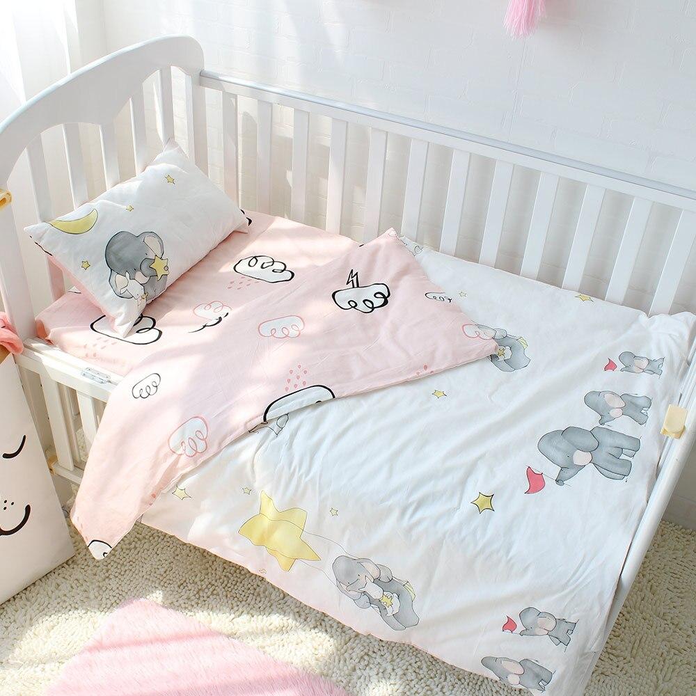 3pcs set Puur Katoen Baby Beddengoed Set Olifant Patroon Baby Beddengoed Voor Meisjes Inclusief Dekbedovertrek Kussensloop Platte vel