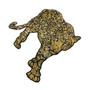 Image 3 - Patch brodé léopard en perles, 2 pièces, à coudre sur paillettes, Appliques danimaux, patchs brodés pour vêtements, AC1472