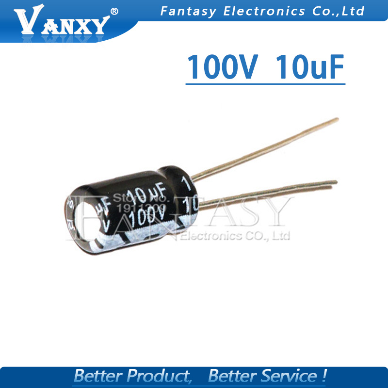 50PCS Higt Quality 100V10UF 6X11mm 6.3*11 10UF 100V Electrolytic Capacitor