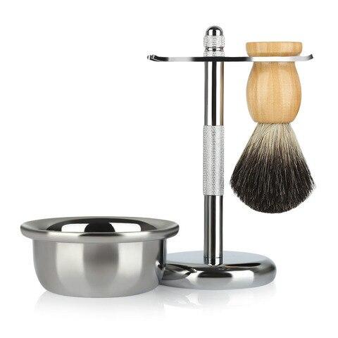 Escova de Cabelo Tigela para Navalha Ferramentas de Limpeza Kit de Barbear Masculino Clássico Texugo Suporte Sabão Facial Mod. 112289
