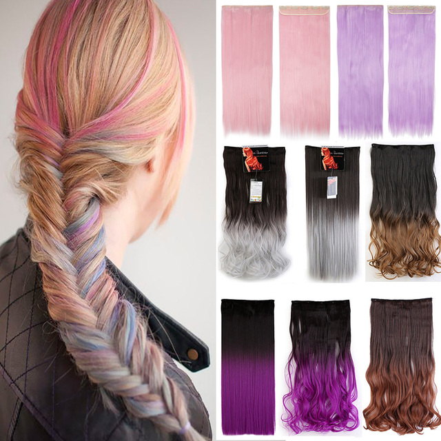 Ombre Dip Dye 23inches 25inches Hairpiece Clips In Hairpieces 5Clips Synthetic Fake False Clip On